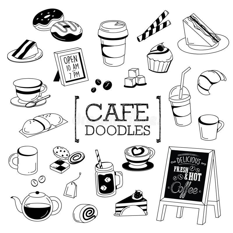 Grupo da garatuja de artigos do café ilustração do vetor