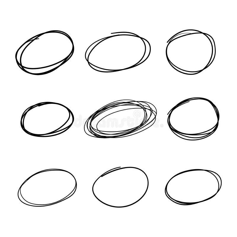 Grupo da garatuja de linha tirada grupo do círculo da mão preta do esboço Formas das elipses do lápis ou do highlighter da pena ilustração do vetor
