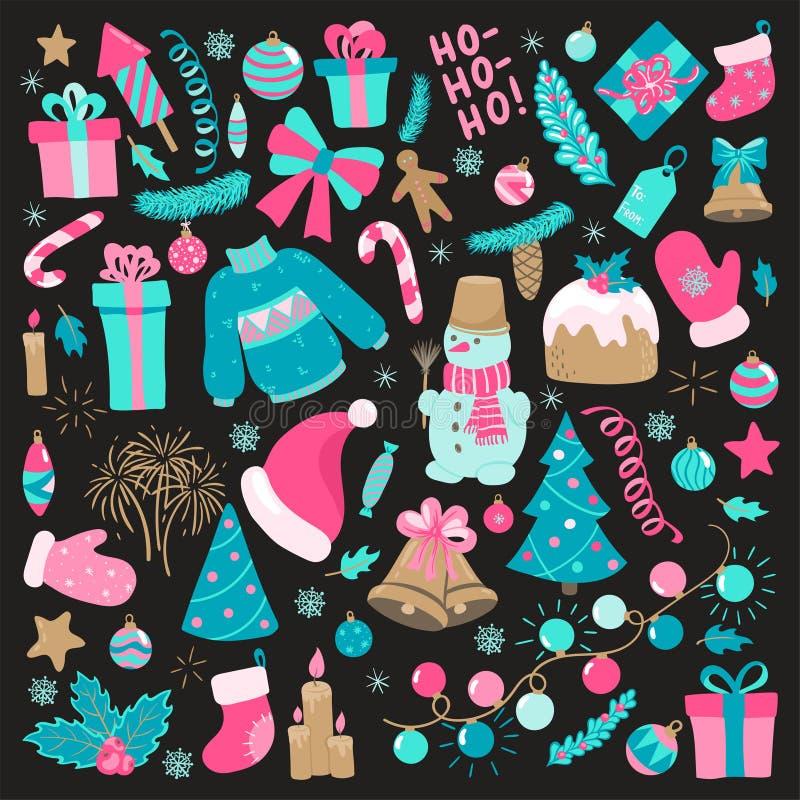 Grupo da garatuja do ano novo feliz e do Feliz Natal Coleção de elementos do xmas para cartões do feriado do projeto e convites d ilustração royalty free
