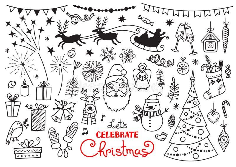 Grupo da garatuja do Natal de caráteres e de decorações ilustração do vetor