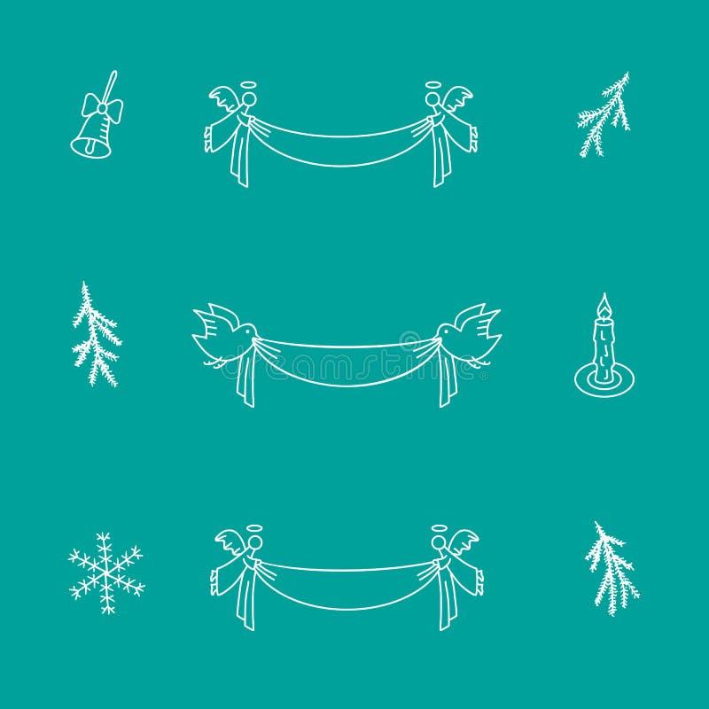 Grupo da garatuja do Natal de elementos do vetor ilustração do vetor