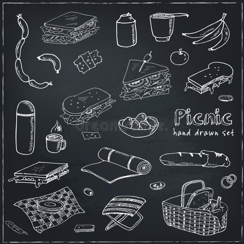 Grupo da garatuja do piquenique do verão Várias refeições, bebidas, objetos, atividades do esporte Ilustração do vetor ilustração stock