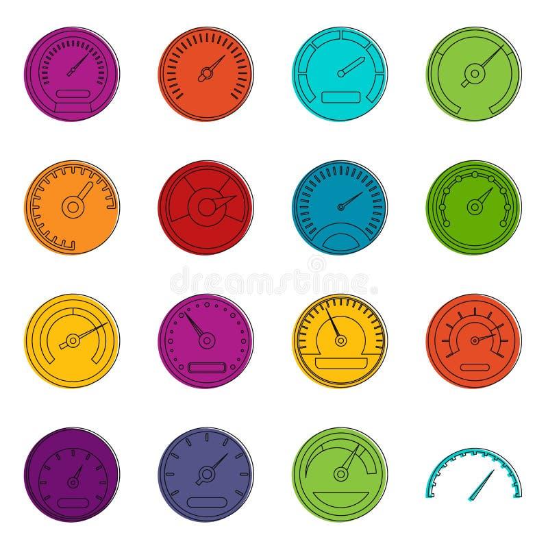 Grupo da garatuja dos ícones do velocímetro ilustração do vetor