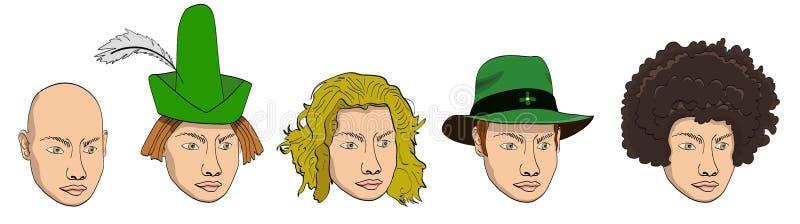 Grupo da garatuja dos desenhos animados do vetor de cabeças humanas com põr no chapéu verde largamente brimmed e no chapéu aguçad ilustração royalty free