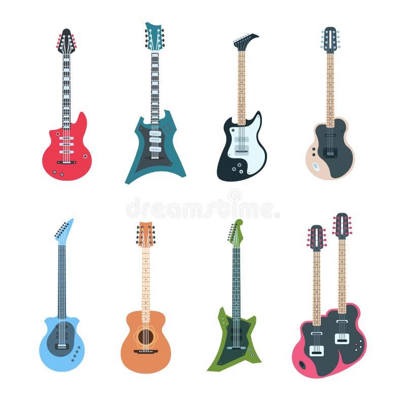 Grupo da guitarra Instrumentos de música elétricos e acústicos lisos da corda de tipos diferentes Guitarra do vetor isoladas no b ilustração do vetor
