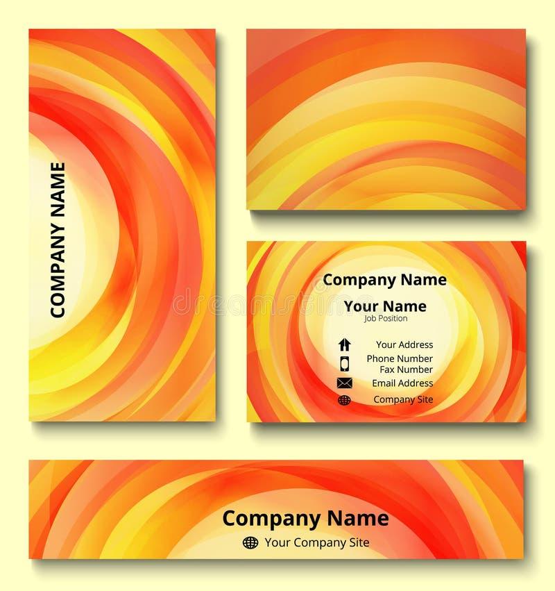 Grupo da identidade corporativa de cartão do cartão, da bandeira e do convite com projeto decorativo do redemoinho de máscaras ve ilustração stock