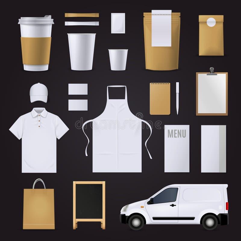 Grupo da identidade corporativa do café ilustração stock