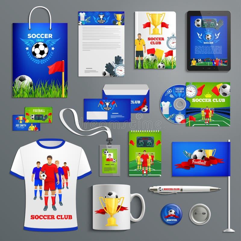 Grupo da identidade corporativa do clube de esporte do futebol ilustração stock