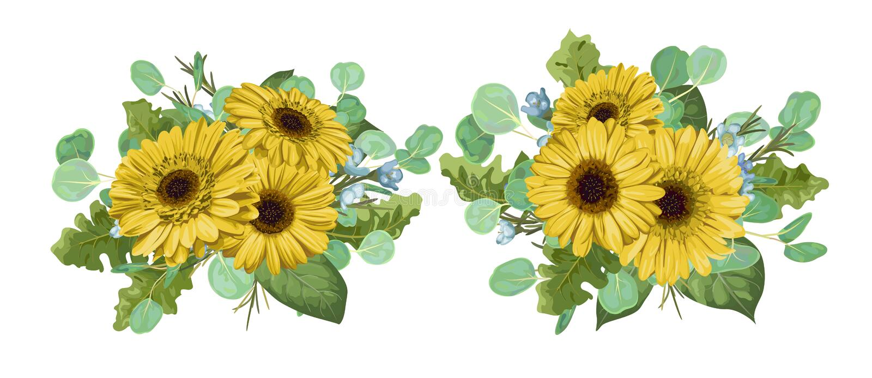Grupo da ilustração da aquarela de moldes do ramalhete para o inv do casamento ilustração stock