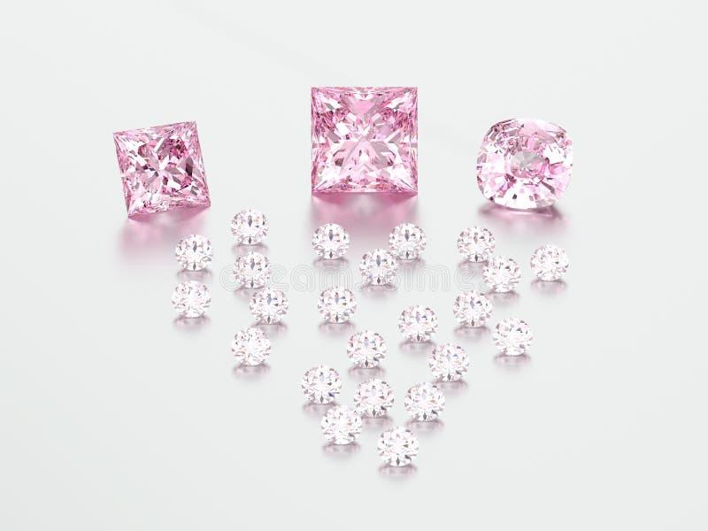 grupo da ilustração 3D de pedras cor-de-rosa dos diamantes ilustração royalty free
