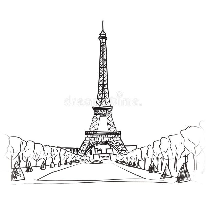 Grupo da ilustração da torre Eiffel de Paris. Coleção do vintage do quadro de Paris do amor. Café francês ilustração do vetor