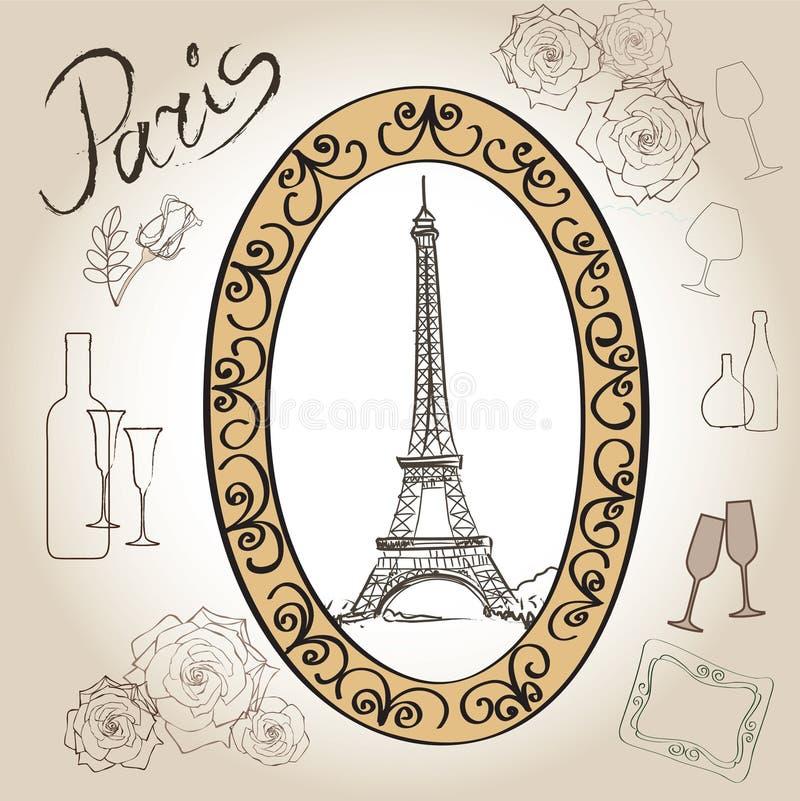 Grupo da ilustração da torre Eiffel de Paris. Coleção do vintage do quadro de Paris do amor. Café francês ilustração royalty free
