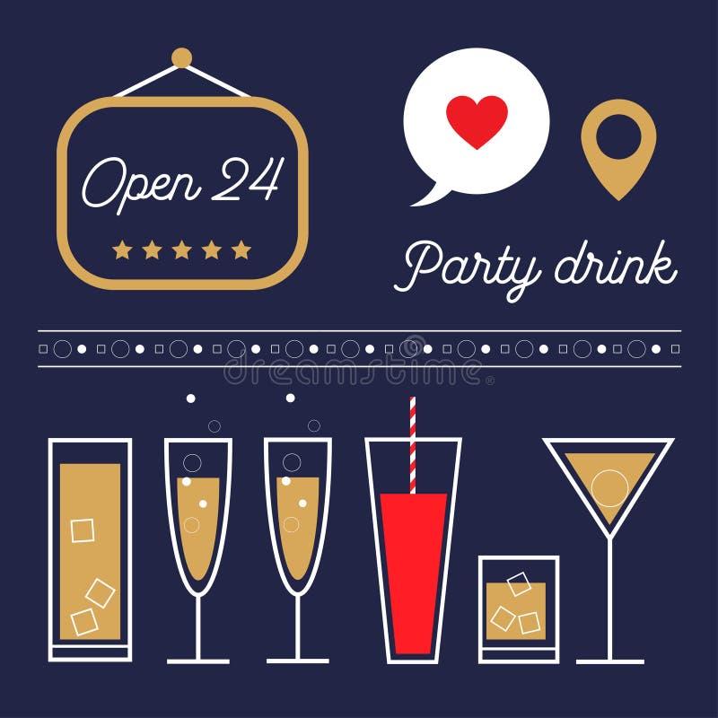 Grupo da ilustração das bebidas e dos cocktail do vetor ilustração do vetor