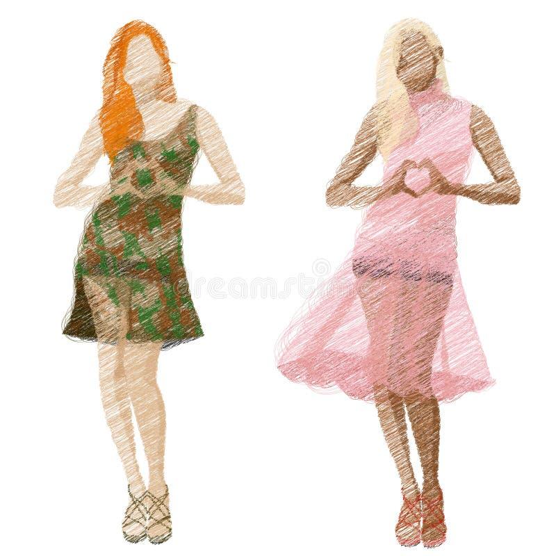 Grupo da ilustração das meninas da forma ilustração stock