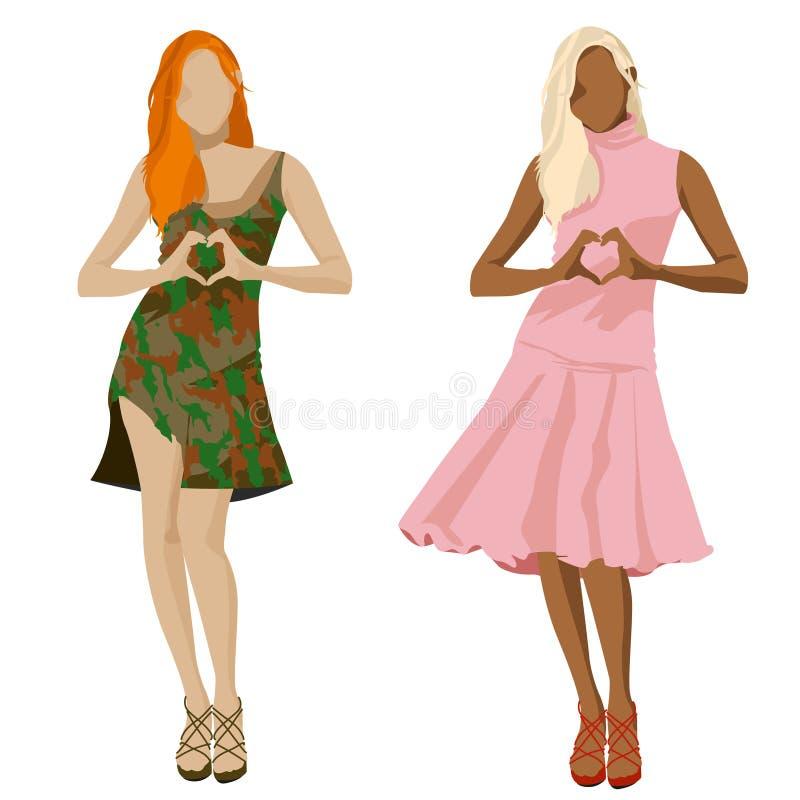 Grupo da ilustração das meninas da forma ilustração do vetor