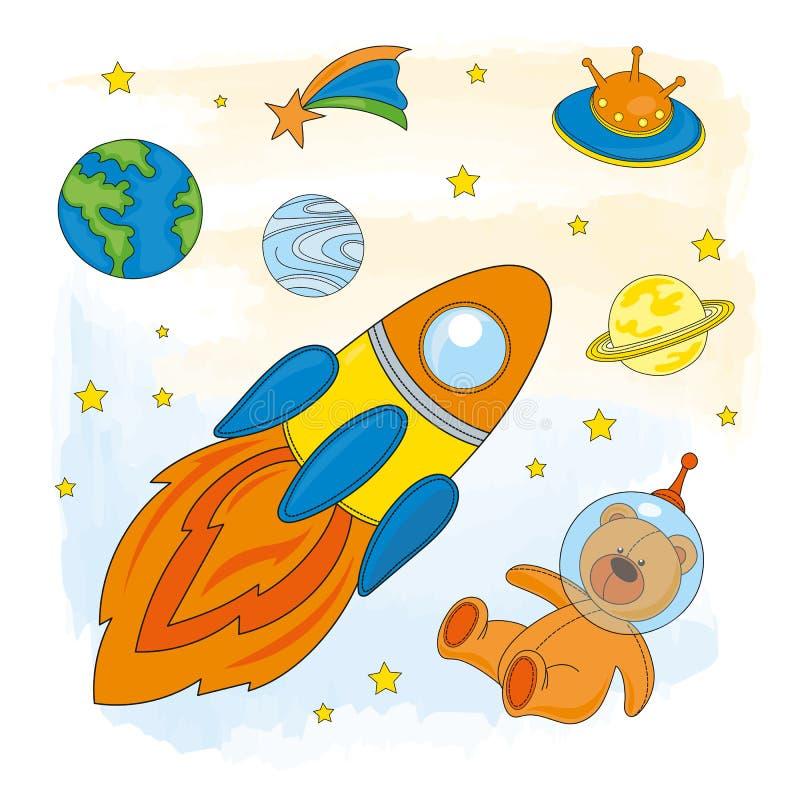 Grupo da ilustração de Children Cartoon Vetora do astronauta do ESPAÇO ilustração royalty free