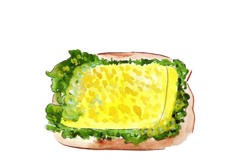 Grupo da ilustração de esboçar sanduíches com variedade de enchimentos, de composição diferente e de ingredientes ilustração do vetor