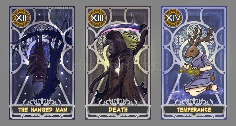 Grupo da ilustração do cartão de tarô ilustração royalty free