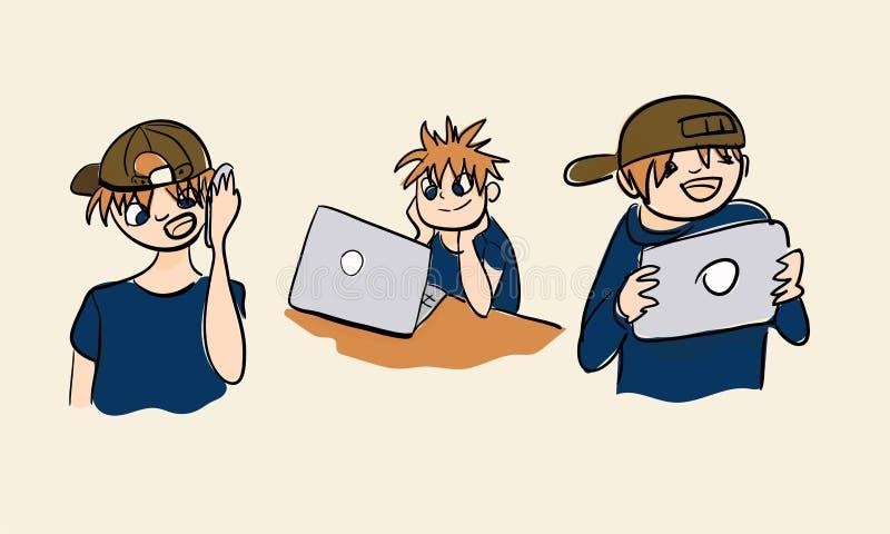 Grupo da ilustração do menino da nova tecnologia da tabela do telefone celular do portátil ilustração royalty free