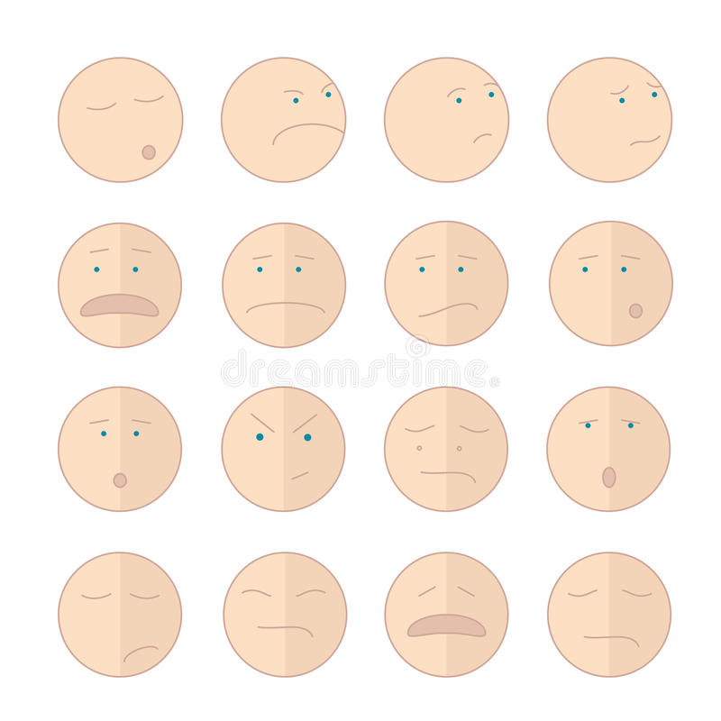 Grupo da ilustração do sorriso dos Emoticons de caras ilustração stock
