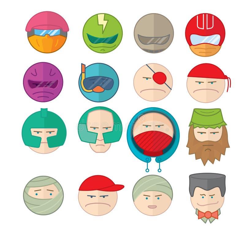 Grupo da ilustração do sorriso dos Emoticons de caras ilustração do vetor