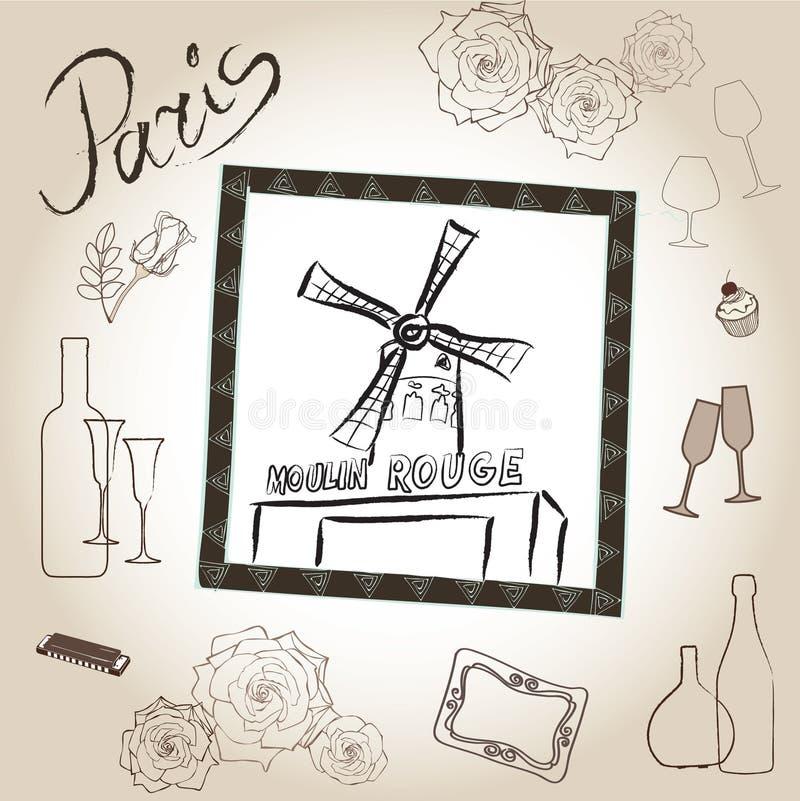 Grupo da ilustração do vermelho de Moulin. Coleção do vintage do quadro de Paris do amor. Café francês ilustração royalty free