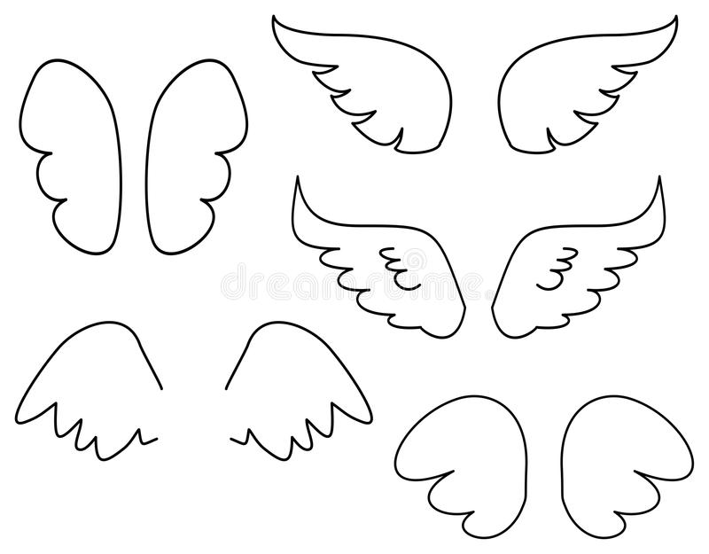 Grupo da ilustração do vetor das asas com anjo ou ícone da asa do pássaro isolado no fundo branco ilustração do vetor