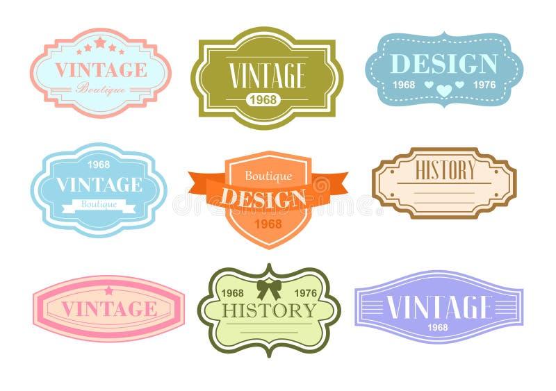 Grupo da ilustração do vetor das etiquetas do vintage, etiquetas nas cores pastel no fundo branco com texto ilustração do vetor
