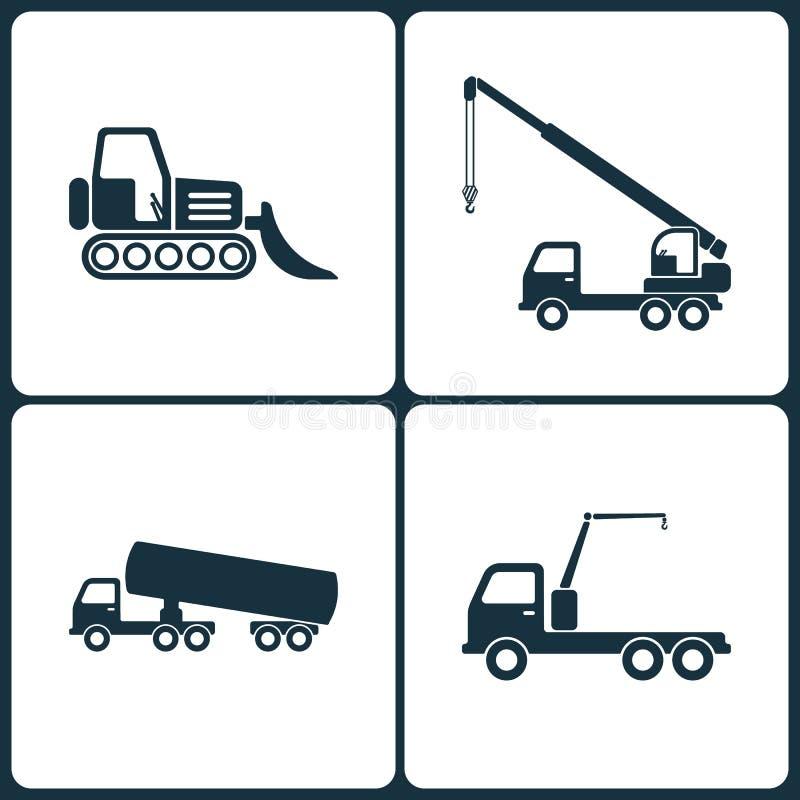 Grupo da ilustração do vetor de ícones do caminhão e do transporte Elementos do carregador, do caminhão químico e do ícone do gui ilustração royalty free