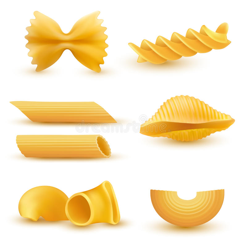 Grupo da ilustração do vetor de ícones realísticos do macarrão seco, massa de vários tipos ilustração stock