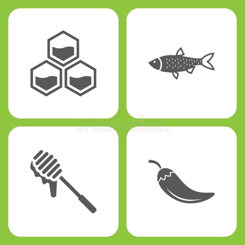Grupo da ilustração do vetor de ícones simples da exploração agrícola e do jardim Elementos favo de mel, peixe, mel, pimenta ilustração stock