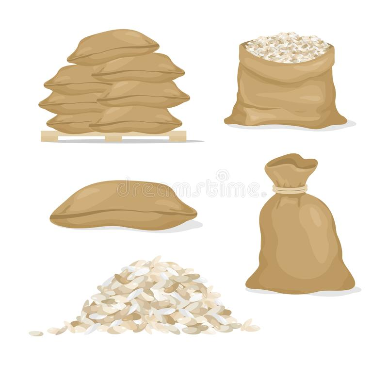 Grupo da ilustração do vetor de arroz nos sacos e na grão do arroz, cereais no estilo dos desenhos animados no fundo branco ilustração stock