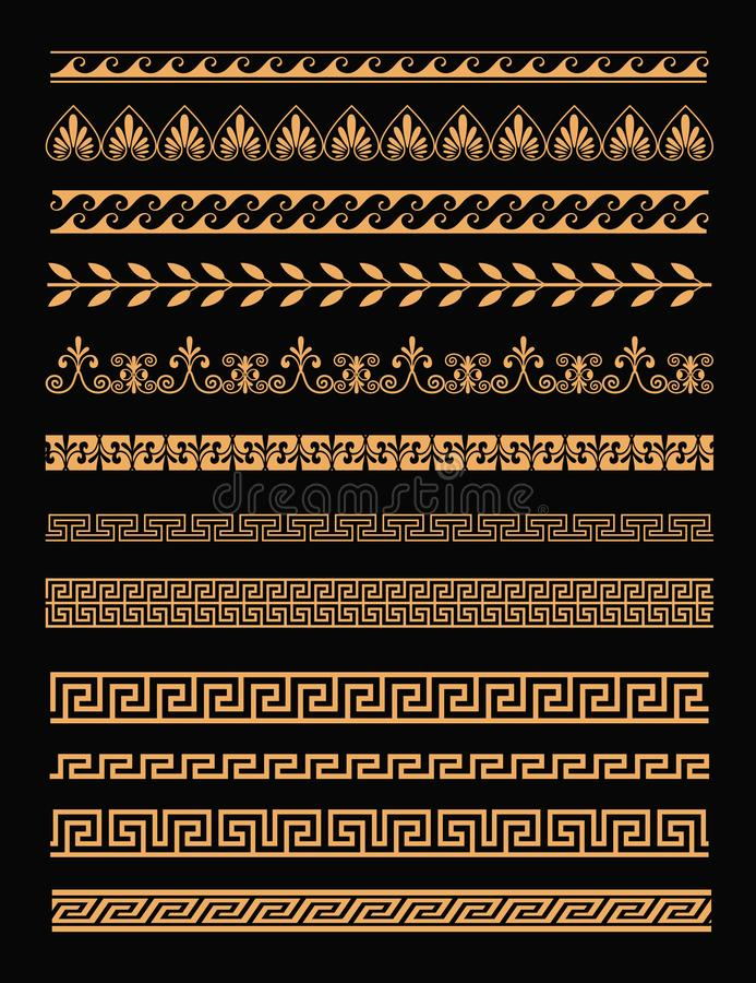 Grupo da ilustração do vetor de beiras gregas antigas e de ornamento sem emenda na cor dourada no fundo preto no plano ilustração stock
