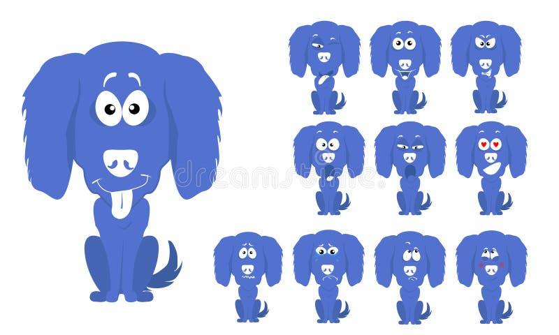 Grupo da ilustração do vetor de cão azul pequeno dos desenhos animados bonitos e engraçados com expressões faciais ilustração royalty free