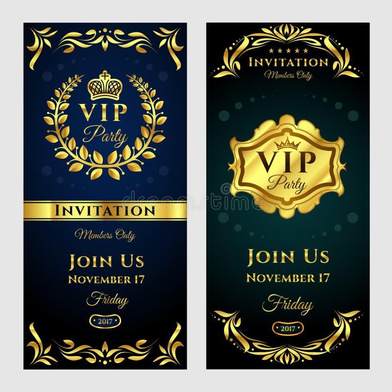 Grupo da ilustração do vetor de cartões do convite do VIP-partido do vintage ilustração stock