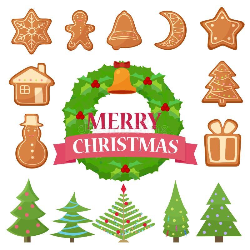 Grupo da ilustração do vetor de cookies, de bolos e de árvores diferentes do Natal com grinalda ilustração royalty free