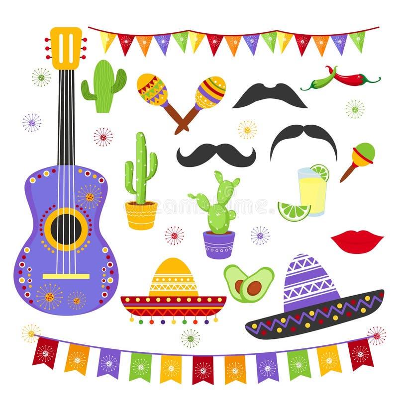 Grupo da ilustração do vetor de elementos carnaval da festa em cores brilhantes e no estilo mexicano Coleção de Cinco de Mayo ilustração stock