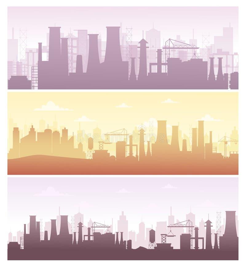 Grupo da ilustração do vetor de fundos industriais, bandeiras A coleção da fabricação ajardina com poluição, fábrica ilustração do vetor