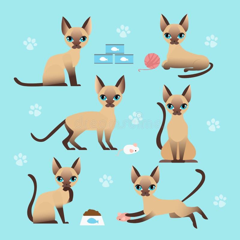 Grupo da ilustração do vetor de gato bonito em poses diferentes Comendo, dormindo, sentando e jogando o gatinho em desenhos anima ilustração stock