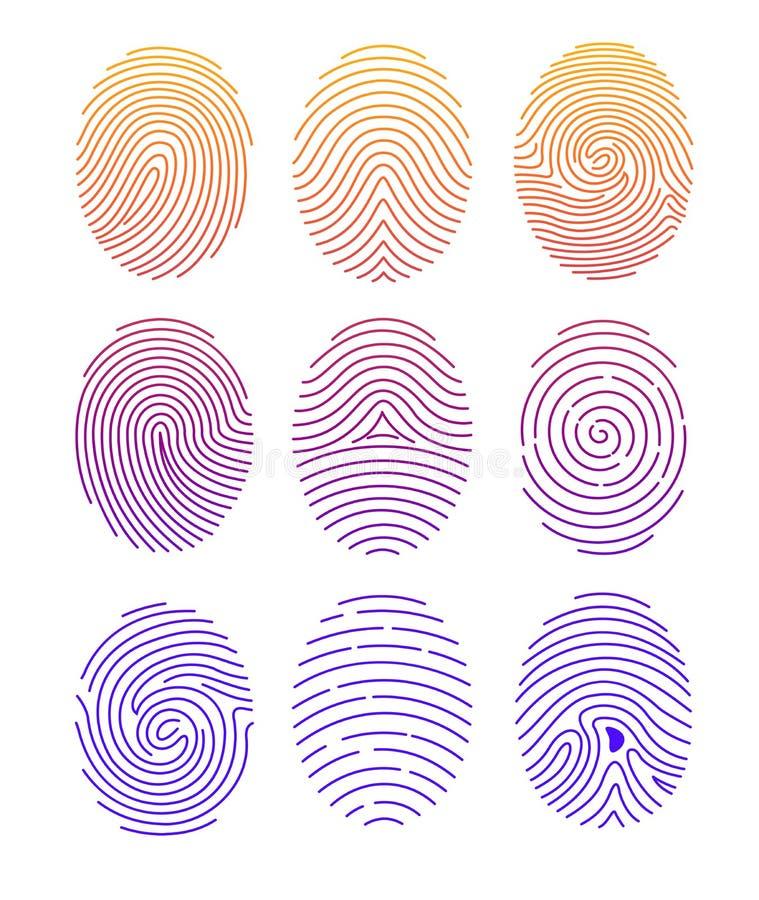 Grupo da ilustração do vetor de impressão digital diferente da forma com inclinação da cor na linha estilo no fundo branco ilustração stock