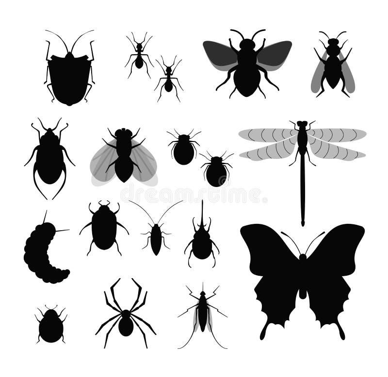 Grupo da ilustração do vetor de insetos, coleção de silhuetas diferentes dos insetos, mosca, abelha, tiquetaques e erro, aranha s ilustração do vetor
