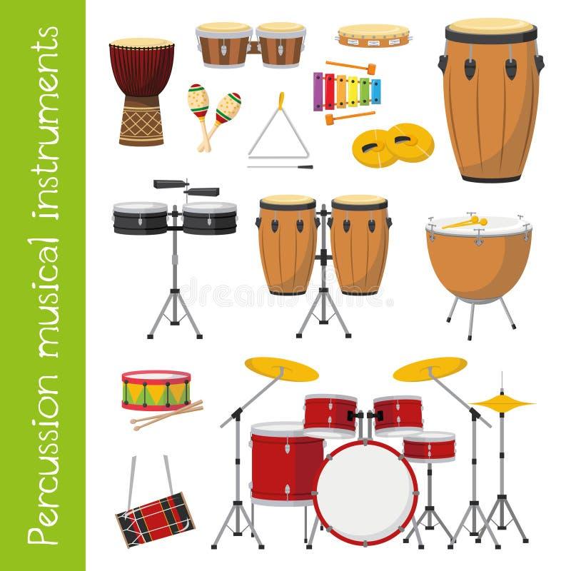 Grupo da ilustração do vetor de instrumentos musicais da percussão no estilo dos desenhos animados ilustração royalty free