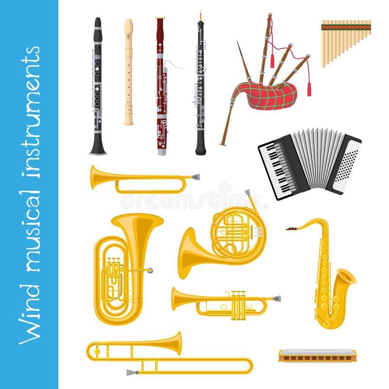 Grupo da ilustração do vetor de instrumentos musicais do vento no estilo dos desenhos animados ilustração do vetor