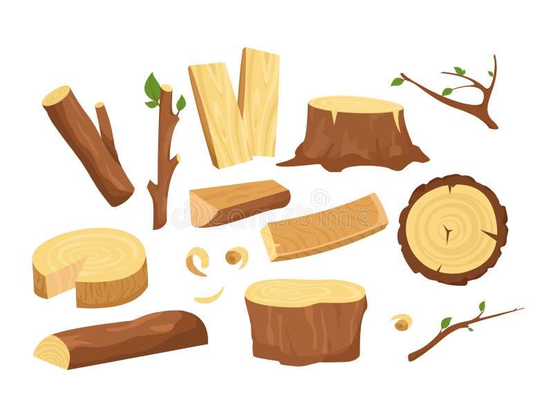 Grupo da ilustração do vetor de materiais para a indústria de madeira Coleção de logs, de pranchas, de coto, de galhos e de tronc ilustração royalty free