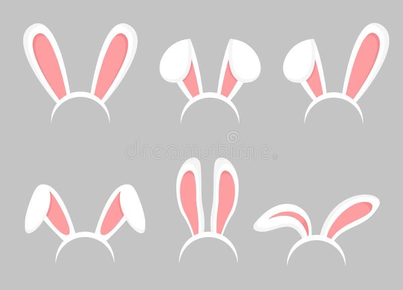 Grupo da ilustração do vetor de orelhas dos desenhos animados do coelhinho da Páscoa Coelho animal, coleção das orelhas da máscar ilustração royalty free