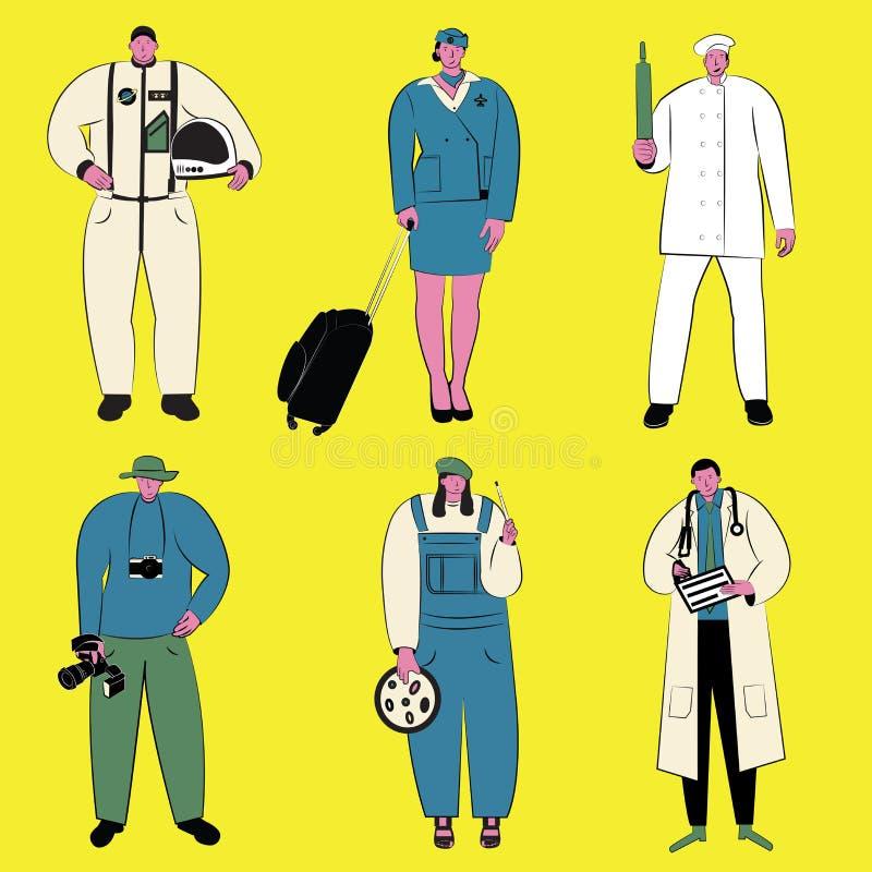 Grupo da ilustração do vetor de povos de profissões diferentes imagens de stock royalty free