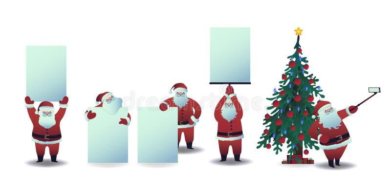 Grupo da ilustração do vetor de Santa Claus com cartazes e selfie vazios da tomada usando a câmera do smartphone ilustração royalty free