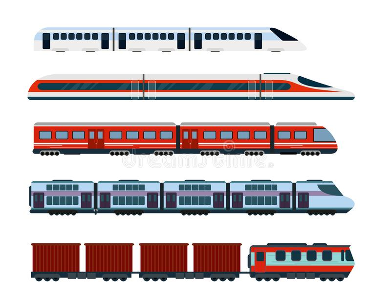 Grupo da ilustração do vetor de trens de passageiros modernos Transporte do metro, trens de alta velocidade e trem subterrâneo me ilustração royalty free