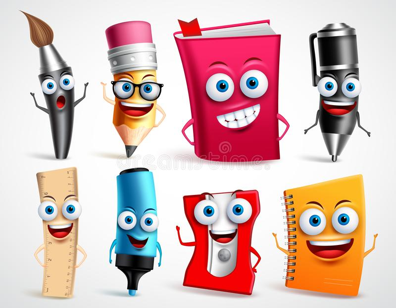 Grupo da ilustração do vetor dos caráteres da escola Mascote dos desenhos animados dos artigos 3D da educação ilustração do vetor