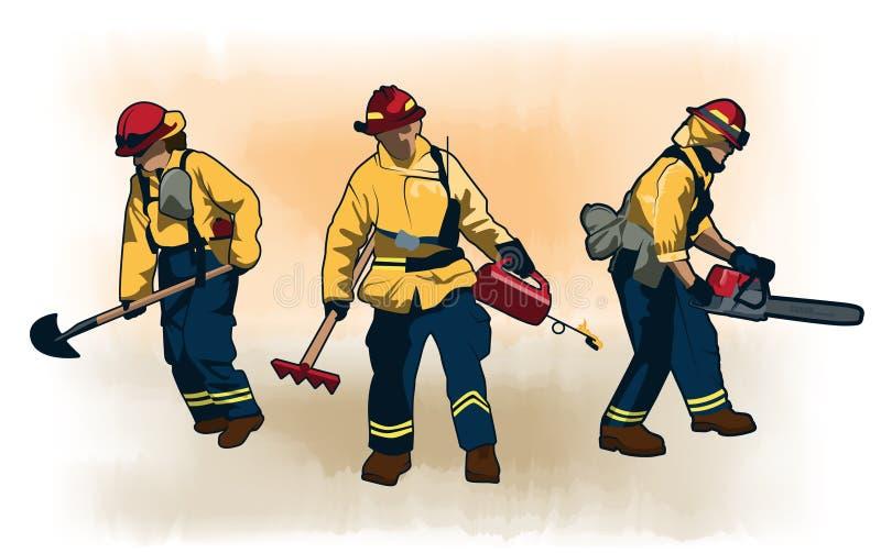 Grupo da ilustração do vetor dos sapadores-bombeiros do Wildland ilustração stock
